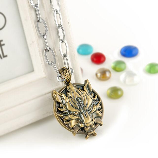 Cartoon Vintage Bronze Japanese anime Final Fantasy Dragon Head Pendant necklace