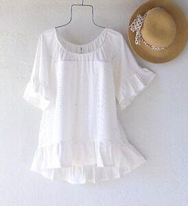 New~White Eyelet Lace Peasant Blouse Ruffle Shirt Spring Boho Plus Size Top~1X