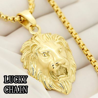 """STAINLESS STEEL GOLD LION HEAD PENDANT 30""""ROUND BOX CHAIN/44g R518"""