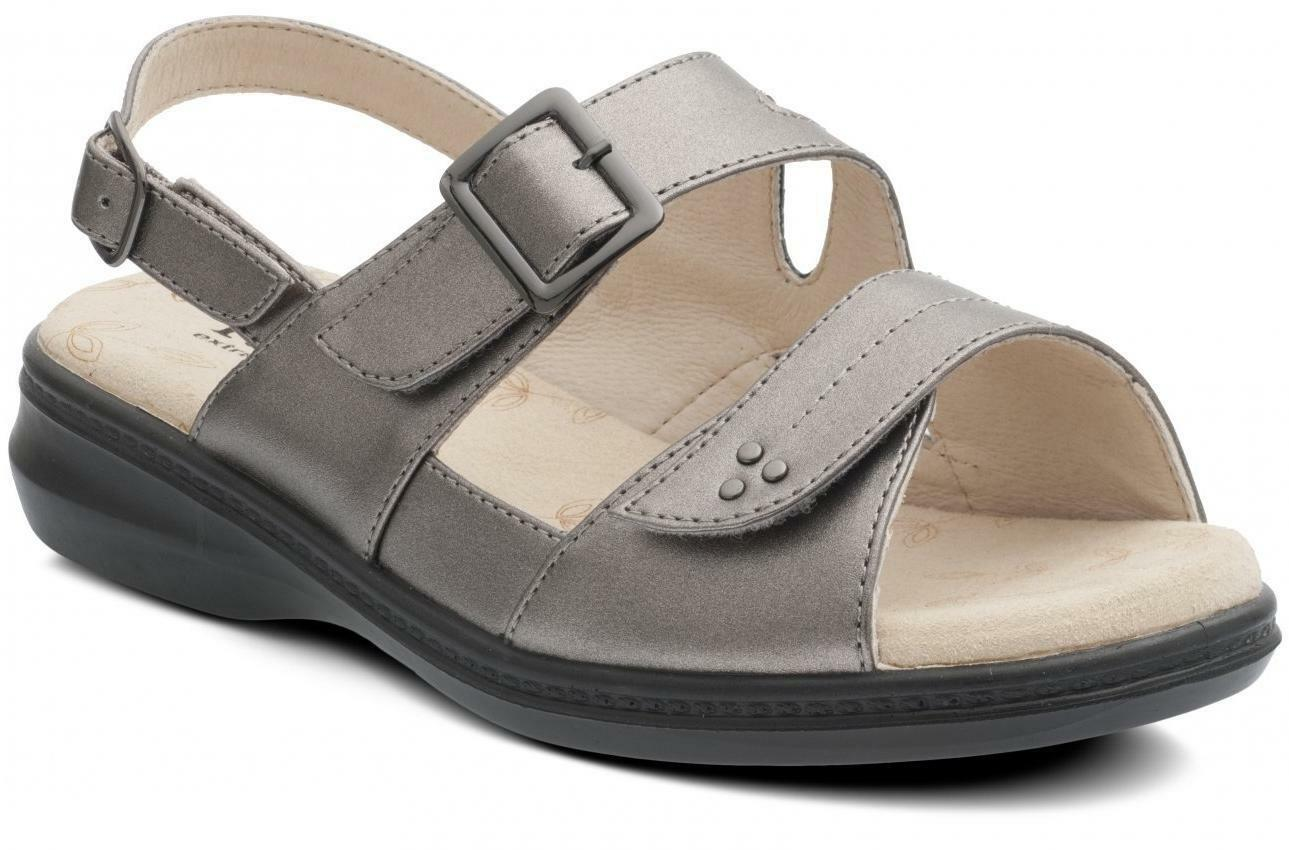 Padders LAURA Women Ladies Extra Wide + Plus EEE Buckle Sandals Pewter Grey