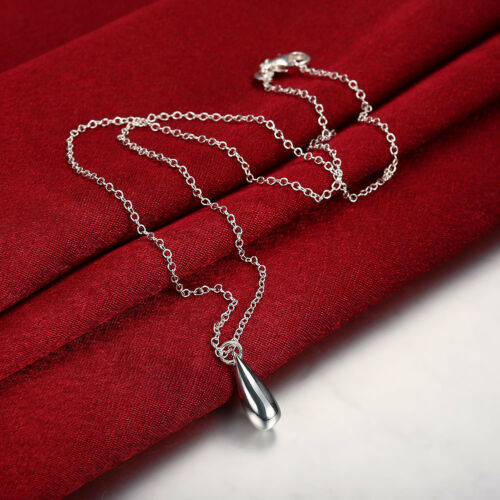 New Wholesale 925 Sterling Silver Filled Solid Teardrop Drop Necklace Chain