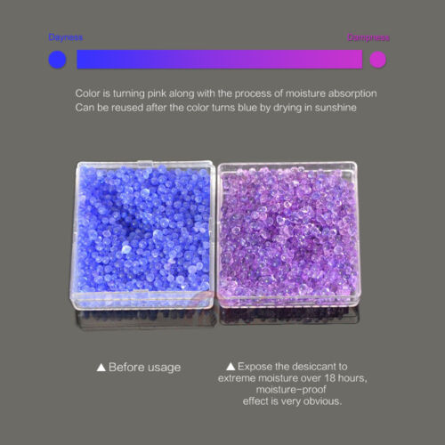 3 Colors Silica Gel Desiccant Dry Box Moisture Camera Microscopes Blue to Pink