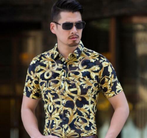Men/'s Summer Casual Floral Plaid à manches courtes revers chemises T-shirt Tops creux