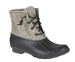 NIB Women/'s Sperry Saltwater Duck Boots in Grey//Black STS81732