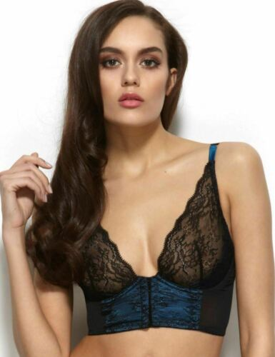 Gossard VIP Olympia 32A UK Black and Blue Lace High Apex Wired Bralet 11915