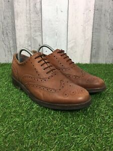 Details about Samuel Windsor Lace up Brown Wing Tip Leather Oxford Brogues Size UK 9