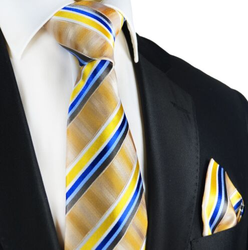 PAUL MALONE Striped Silk Tie and Pocket Square