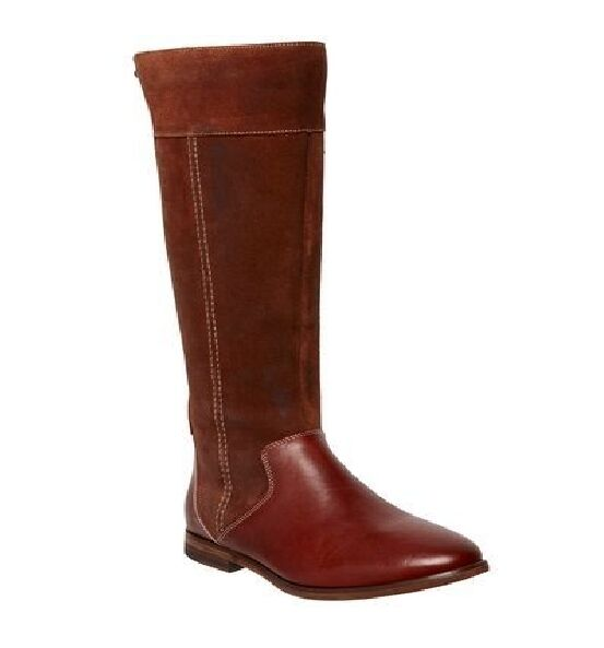 NEW Damenschuhe HUSH PUPPIES ALCOTT LEATHER FLAT BROWN KNEE HIGH Stiefel CASUAL Schuhe