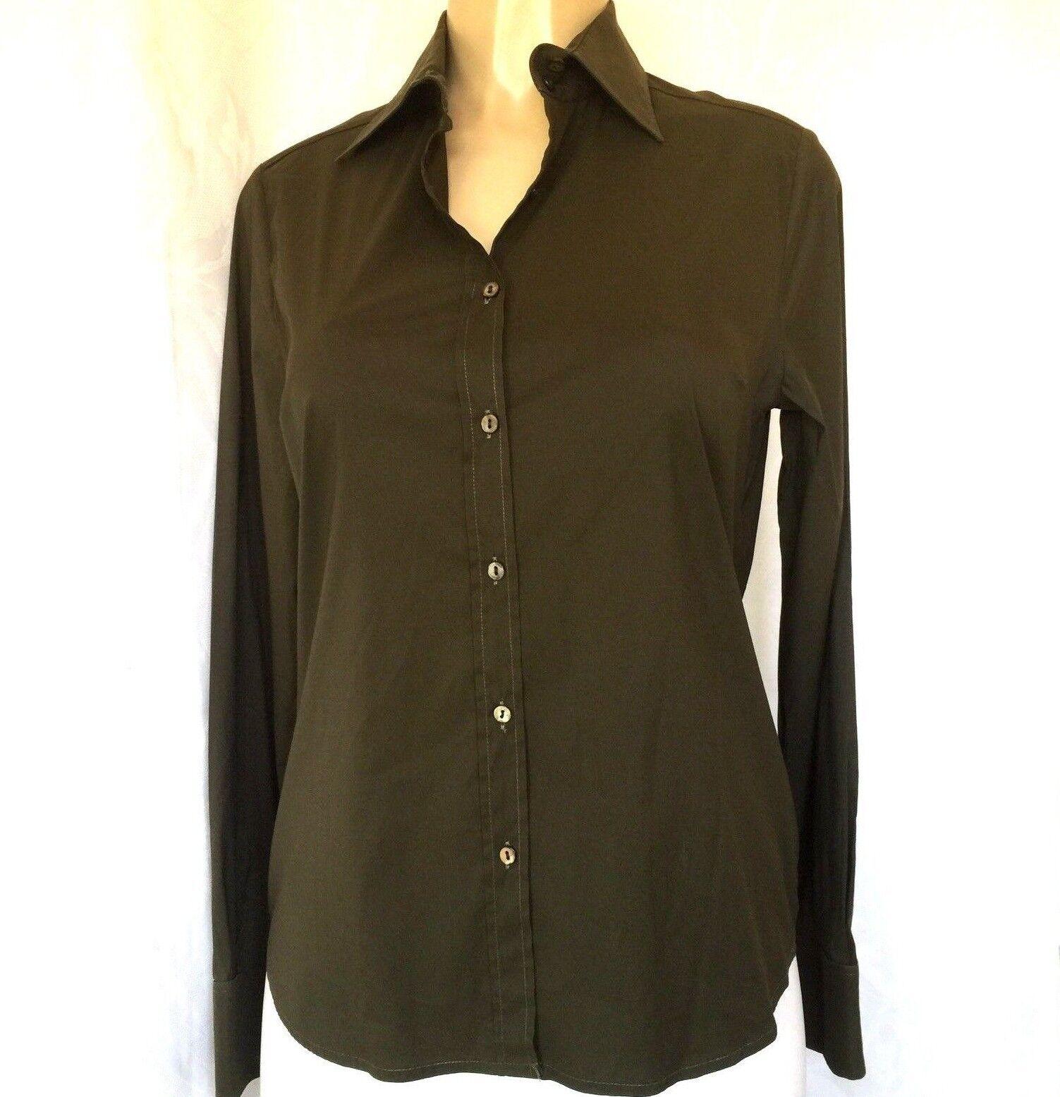 Paul & Joe Classic Shirt damen Forest Grün Stretch Cotton Long Sleeve France 3