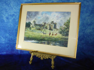 Signed-Watercolour-ALNWICK-CASTLE-NORTHUMBERLAND-by-MACINNES-Painting-Horses-Art