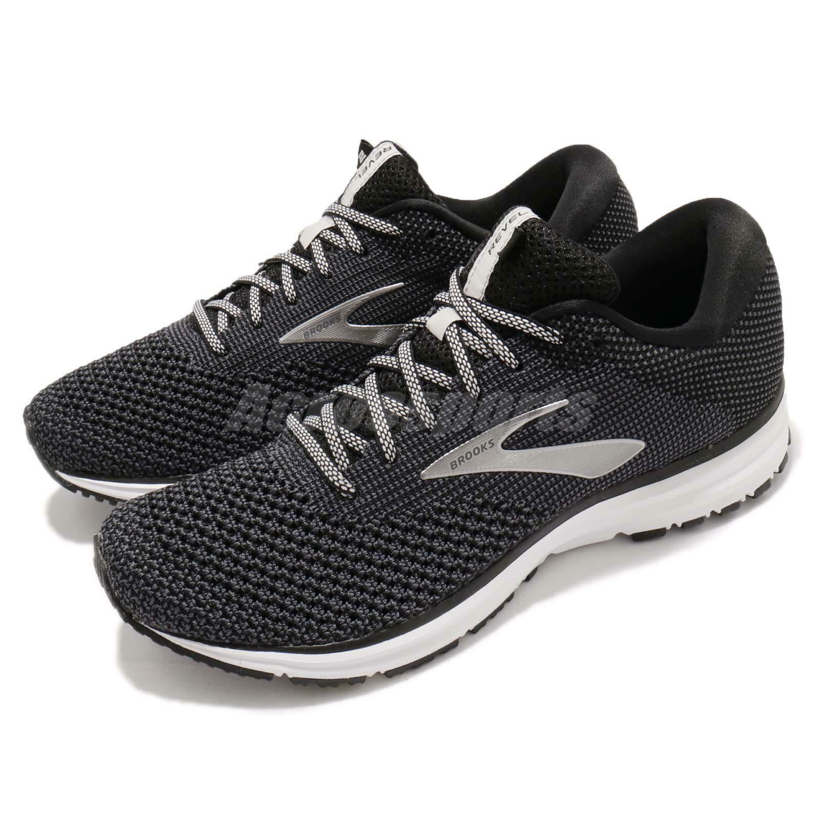 Brooks Revel 2 negro gris blanco Men Running Training zapatos zapatillas 110292 1D