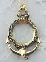 Gold Anchor And Rope Magnifying Glass Necklace Long Fashion Jewelry