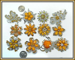 12 Orange Brooches WHOLESALE LOT Bling Rhinestone BROOCH PIN Wedding