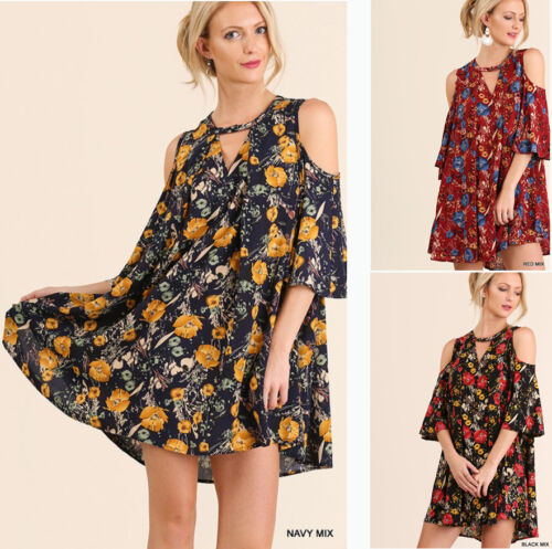 UMGEE Flowy Floral Print Asymmetric Flared Tunic Loose Summer Casual Dress