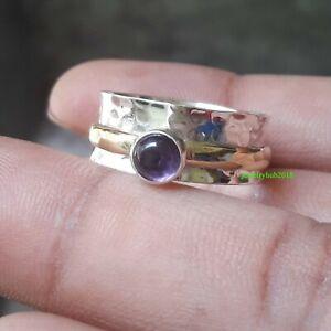 Amethyst-Solid-925-Sterling-Silver-Spinner-Ring-Meditation-Statement-Ring-Sr714
