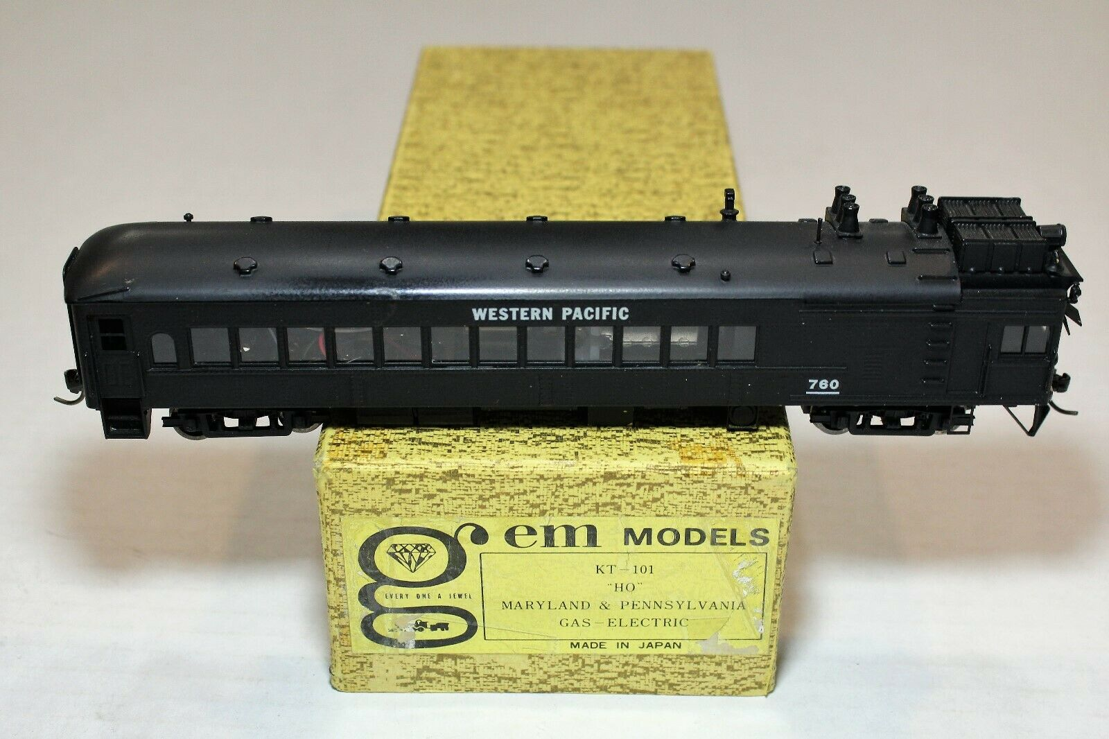 GEM Brass Painted HO Scale Western Pacific WP Gas-Electric Doodlebug Locomotive