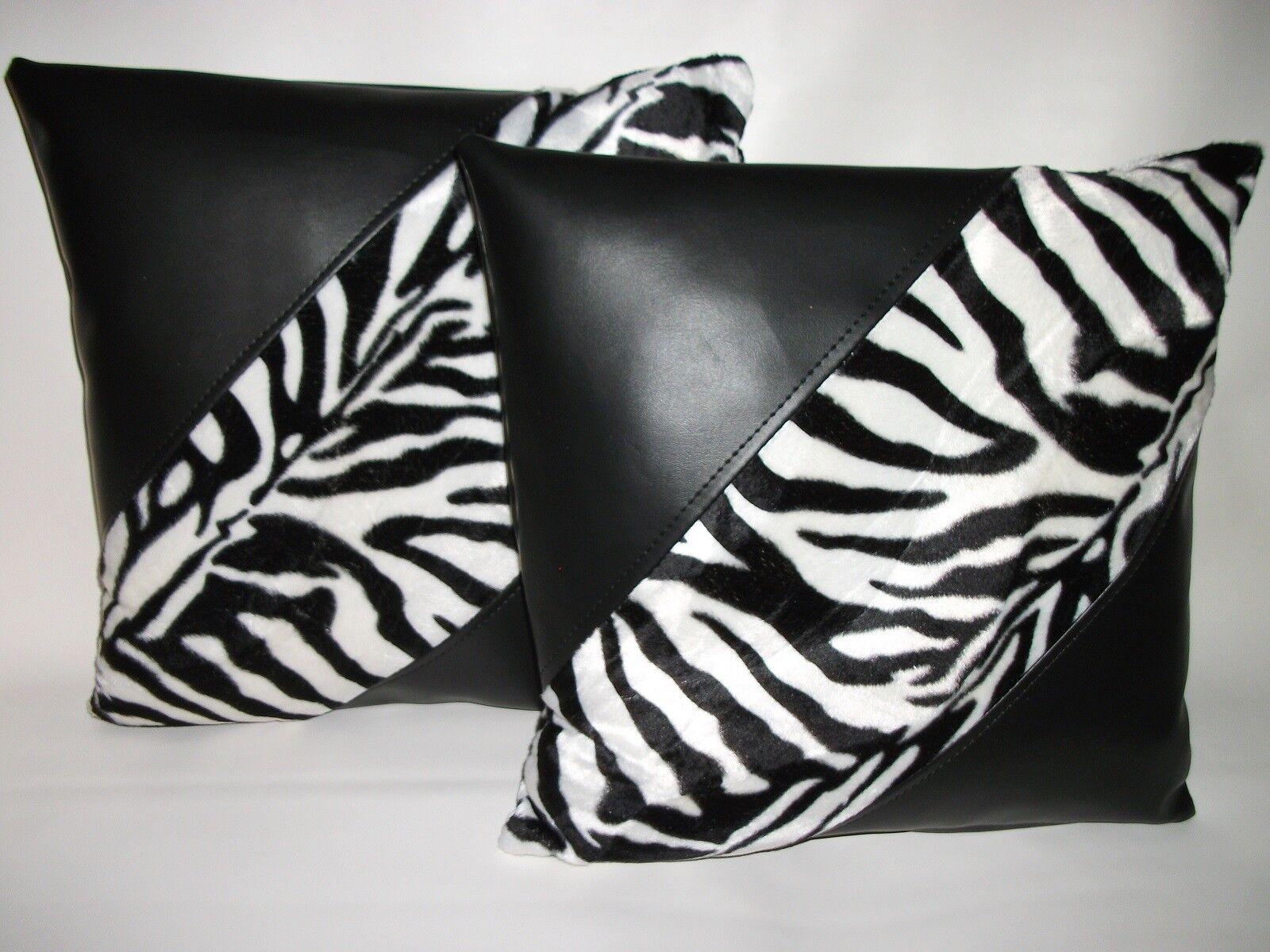 2 Black Black Black Faux Leather & Faux Fur Zebra Diagonal Cushions 16