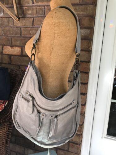 Sundance Catalog Twin Peaks Leather Handbag Gray M