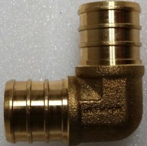 Lot-of-25-3-4-034-PEX-90-ELBOW-BRASS-BARBED-CRIMP-FITTINGS-LEAD-FREE-3-4-in
