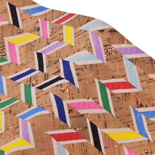 DIY A4 Farbig Gestreift Kork Stoff Nähen Dekostoff für Puppe Tasche Handarbeit