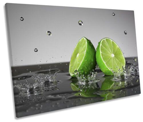 Lime Green Fruit Splash Kitchen Print SINGLE CANVAS WALL ART Picture Grey