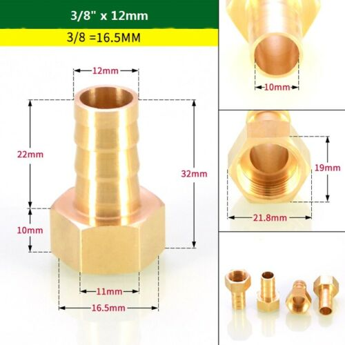 "Brass 1//8/"" 1//4/"" 3//8/"" Female Thread Pipe Fitting x6~16mm Barb Hose Tail Connector"