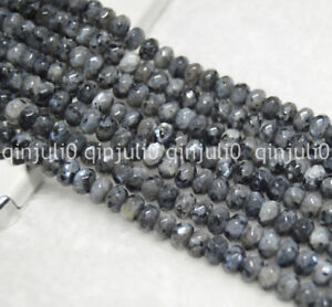 Faceted-4x6mm-India-Labradorite-Gray-Gems-Rondelle-Loose-Bead-15-034-Strand-JL189