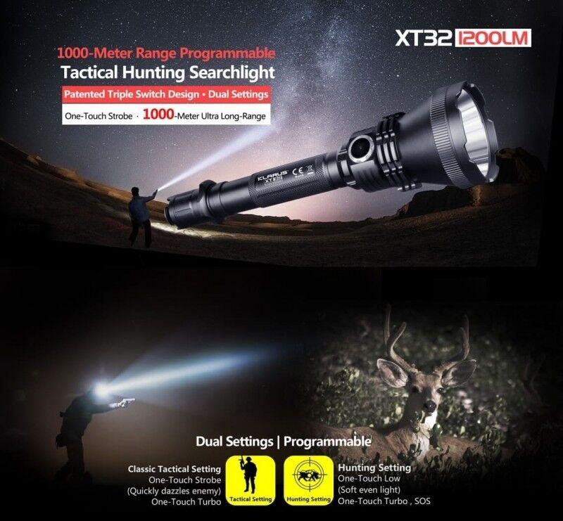 Klarus xt32 LED LAMPADA CACCIA TORCIA con fino a 1000m di portata  STAFFA