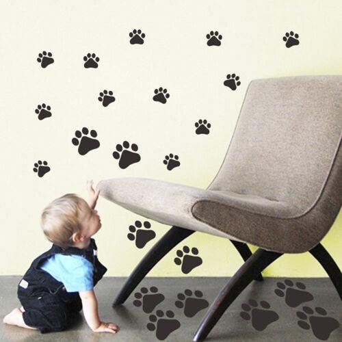 22X Paw Black  Print Vinyl Car Wall Sticker Home Wheelie Bin Decal Dog Cat Pet