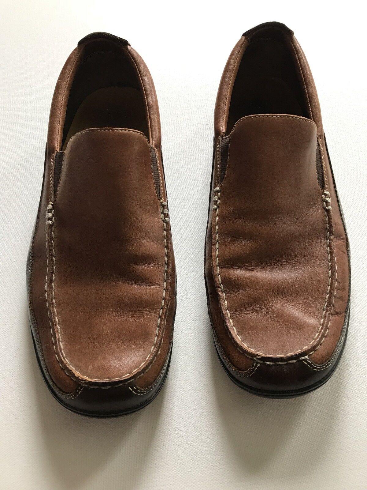 Cole Haan Two Tone Leather Slip M On Venetian Loafer 11.5 M Slip Cognac & Walnut Luxury e9c3a9
