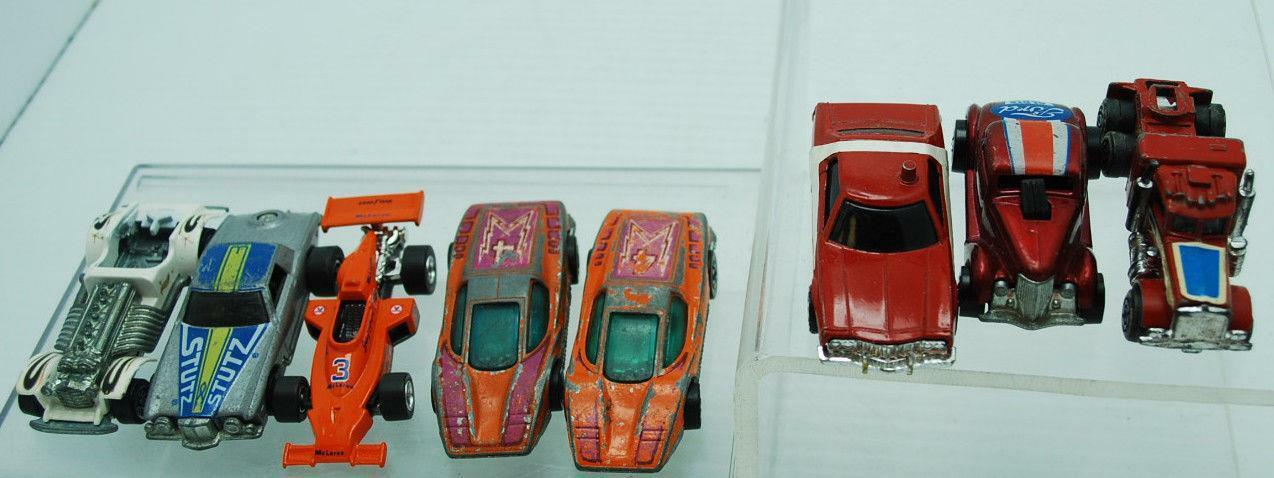 LOT OF 8 VINTAGE HOT WHEELS CORGI CORGI CORGI LIGHTNING 1971 FORD NEET STREET LARGE CHARGE 7aa949