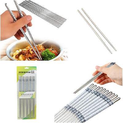 1//5 Pair Reusable Chopsticks Metal Korean Chinese Stainless Steel Chop Sticks