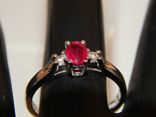 .37 tcw 3 stone  Blood Red Mogok Ruby & Diamond G/SI Ring 14k WG Engagement