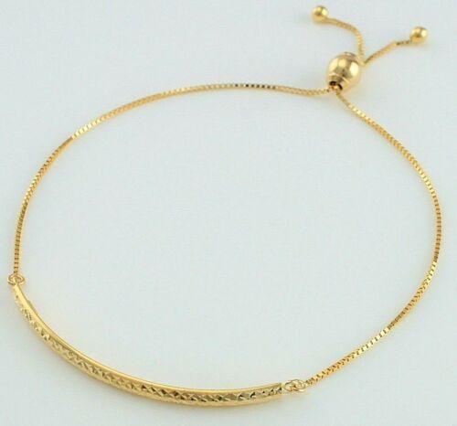 9 Ct Oro Amarillo Diamante Corte Barra Deslizante Ajustable Pulsera//banglet