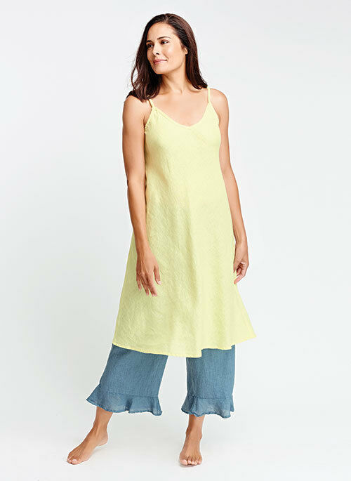 FLAX  Designs   Linen    Dress   L  XL    NWOT  Bias TeA    YELLOW CLEARANCE