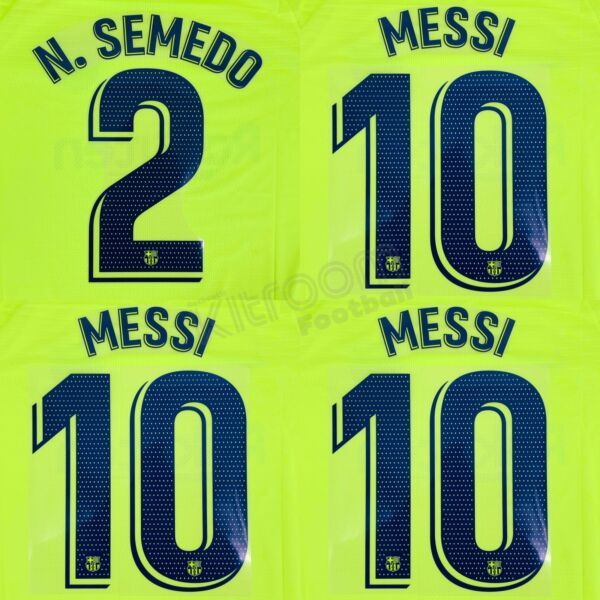 2018-19 Barcelona Player Issue Away Name Set Avery For Shirt Jersey