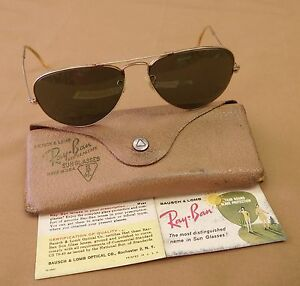 70809ef3044 Vintage Ray Ban Aviator Gold Filled Sunglasses with Original Case ...