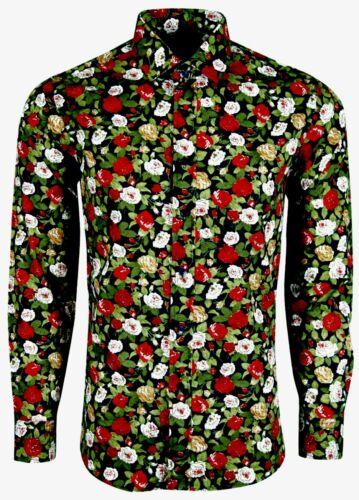 452 Camicia da Uomo Motivo Floreale Abito Per Festa Matrimonio Formale Casual £ 18.99
