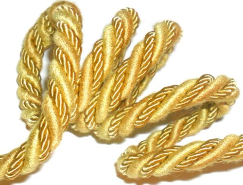 10MM CORD X2 METRES FREE P/&P ART 53858 GOLD SILK//COTTON PIPING//EDGING ROPE