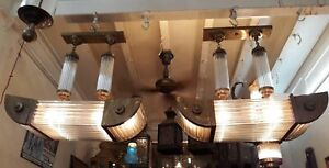 Ancien-Art-Deco-Skyscraper-Laiton-amp-Glass-Rod-Eclairage-Lustre-au-plafond-Lampe