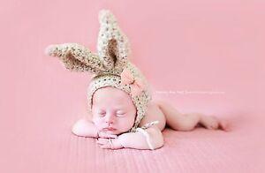 HANDMADE Crochet Avena Bunny Sombrero. foto fotografía Prop. recién NACIDO. Pascua  </span>