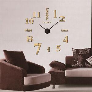 Details zu Wanduhr Deko Spiegel Wandtattoo 3D DIY Design Große Wand Uhr  Wohnzimmer Büro
