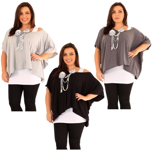 a836443be13 Womens Plus Size Floral Necklace 2 in 1 Kimono Tops 12-22 Light Grey 20-22  for sale online