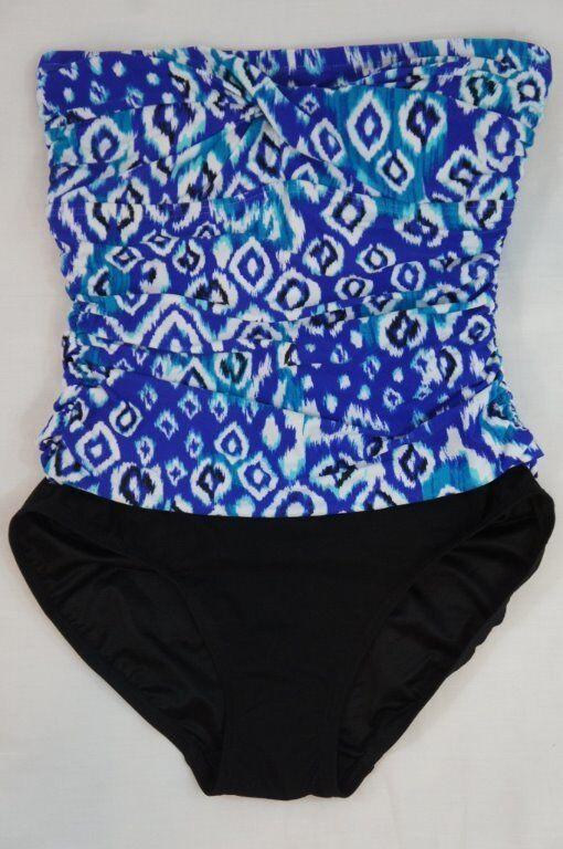 Beach Diva Control One Piece Swimsuit Sz 10 Cobalt bluee White Swimwear EW4175016