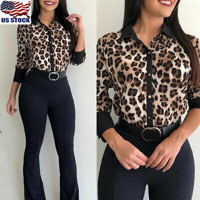 UK Womens Leopard Print V Neck Long Sleeve T Shirt Party Casual OL Blouse Tops