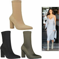 Womens Ladies Lycra Stretch High Block Heel Kardashian Cleb Style Ankle Boots