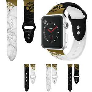 Rose Flowers Marble Silicone Watch Band Strap For Apple Watch Series 5 4 3 2 1 Ebay