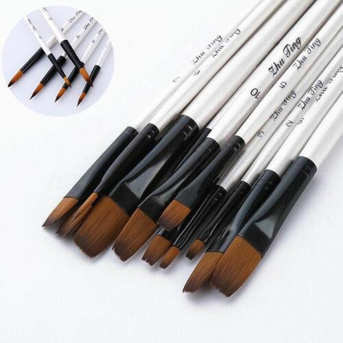Acrylic Oil Watercolor Paint Brush 12Pcs Set Artist Art Painting Brushes Craft