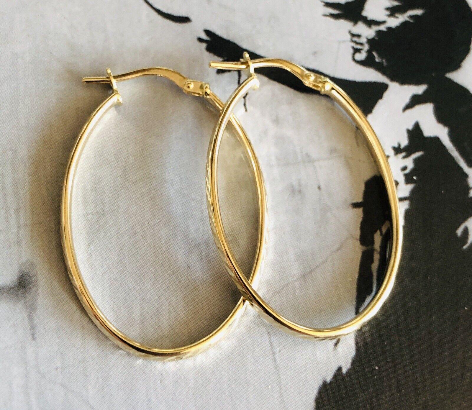 9ct gold Large big Oval Hoop Fancy Earrings - Th898 Th899