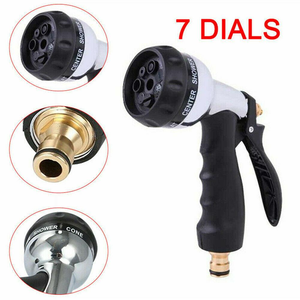 7 Dial Function Metal Garden Yard Hose Sprayer Gun Hose Pipe Chrome Water Spray